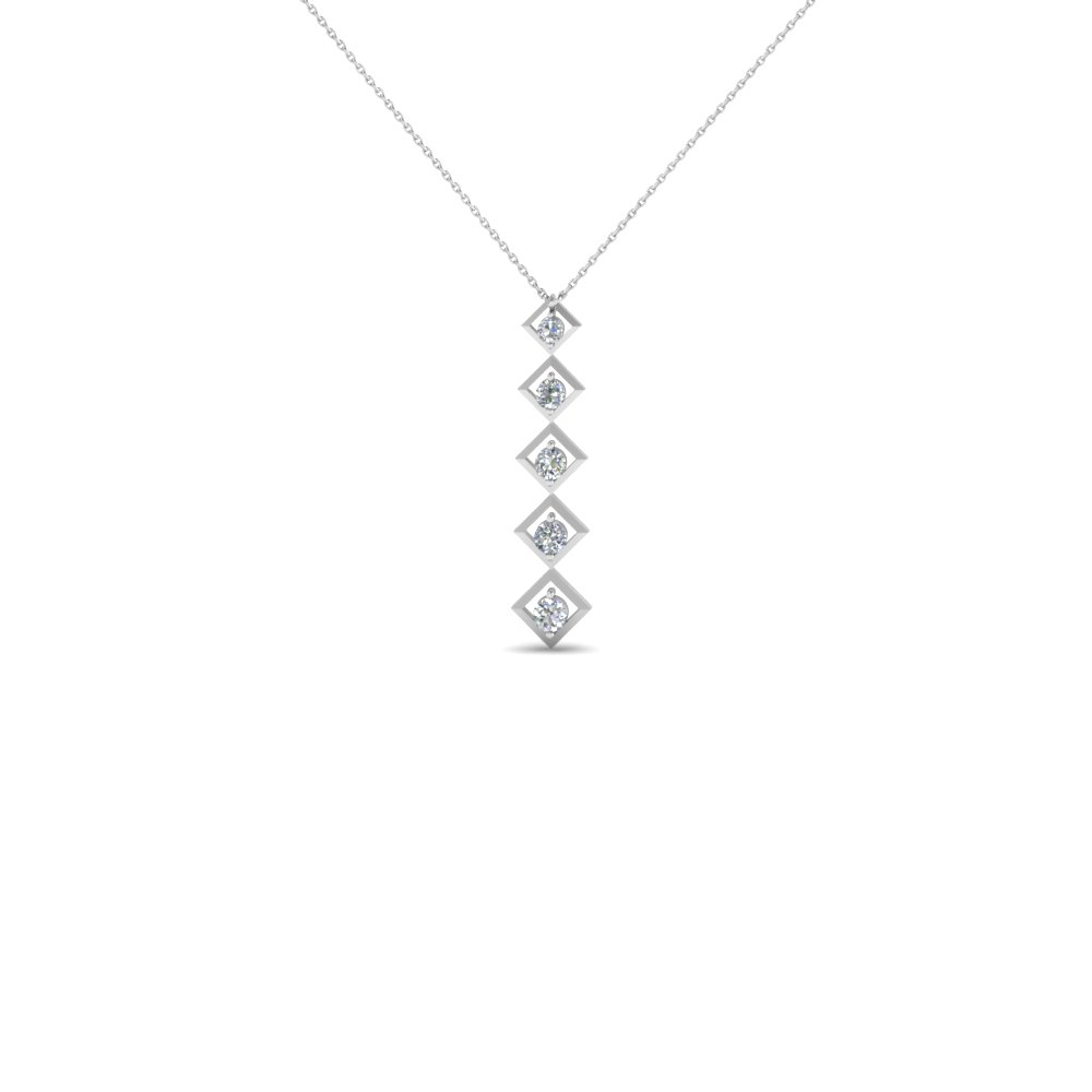 graduated square round diamond fancy necklace pendant in 14K white gold FDPD1774 NL WG