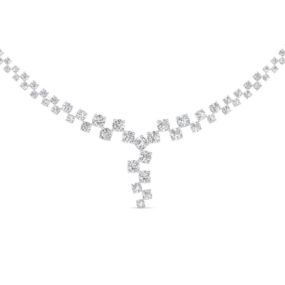 graduated zigzag drop diamond necklace in 14K white gold FDNK8197 NL WG