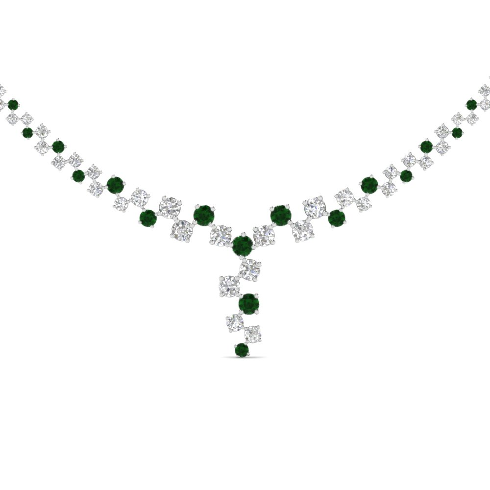 gold white sale pendant shamrock diamond emerald necklace