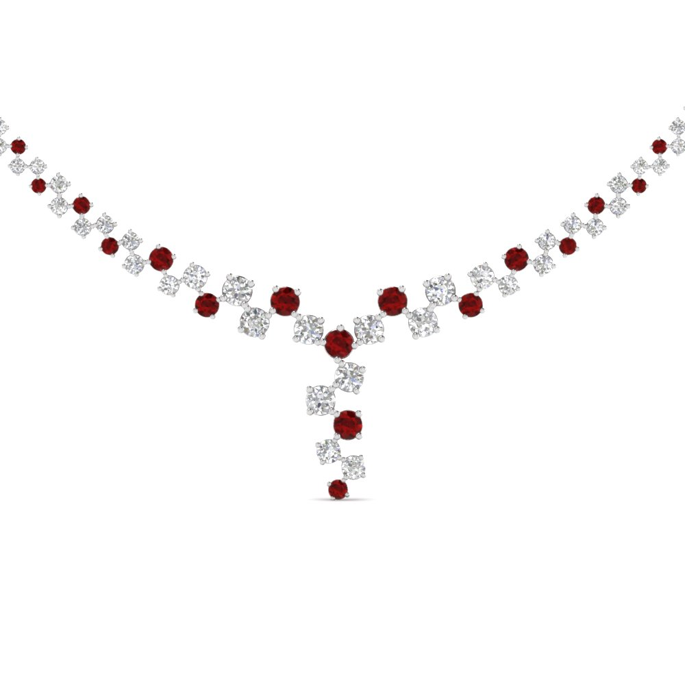 for chain bridal sterling fine wedding shape necklaces diamond item choker from ruby silver jewelry gehoo necklace pendant rose gold women red in