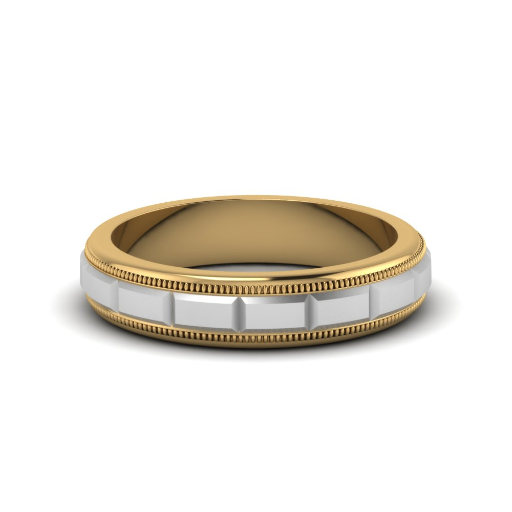Grooved Milgrain Male Comfort Fit Ring
