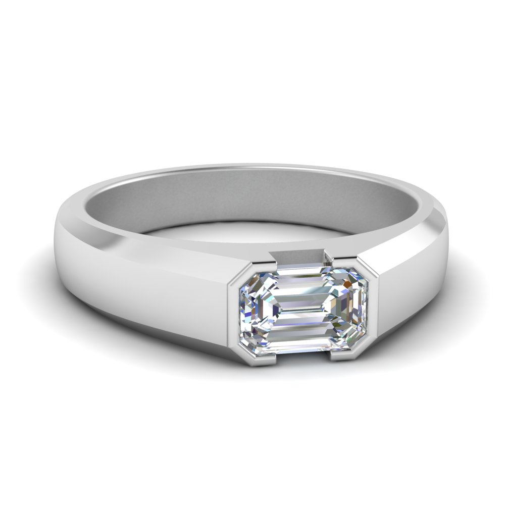 Mens Wedding Rings.Half Bezel Emerald Cut Mens Ring