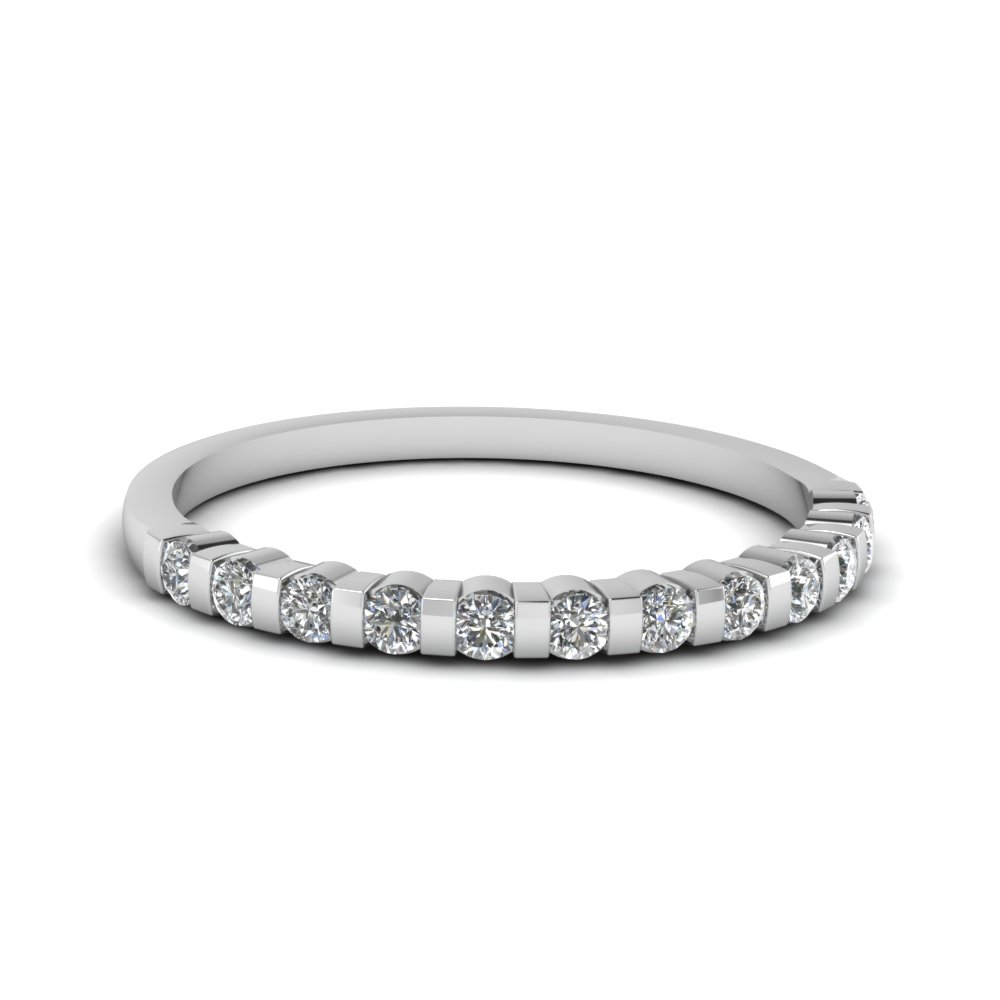 half bezel set round diamond anniversary wedding women band in 14K white gold FDENS3102BANGLE5 NL WG 30