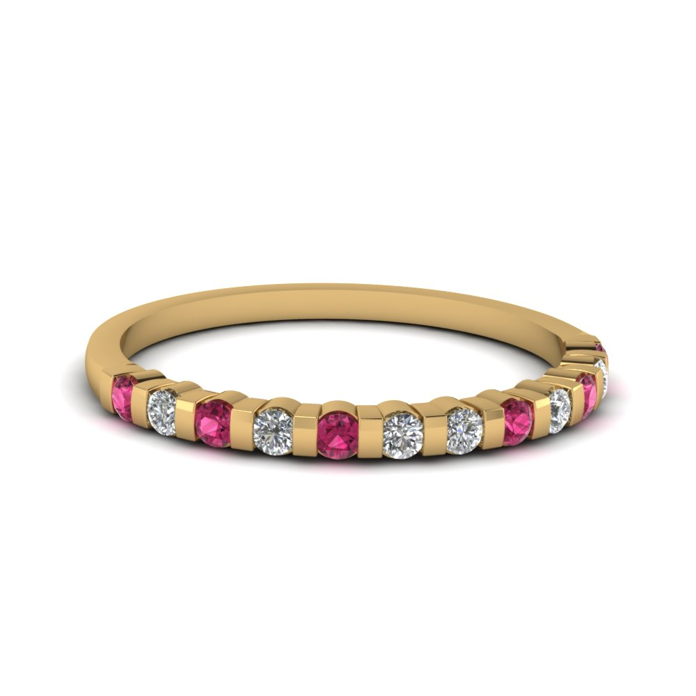 Round Cut Diamond & Gemstone Yellow Gold Anniversary Band