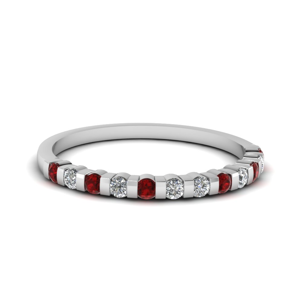 half bezel set round diamond anniversary women band with ruby in FDENS3102BGRUDRANGLE5 NL WG 30
