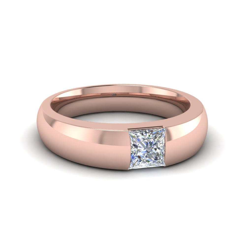 Half Bezel Set Princess Cut Rose Gold Mens Wedding Band