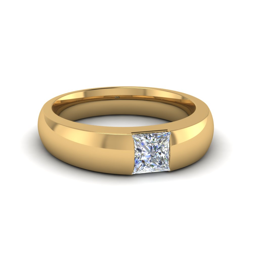 Half Bezel Solitaire Princess Wedding Ring