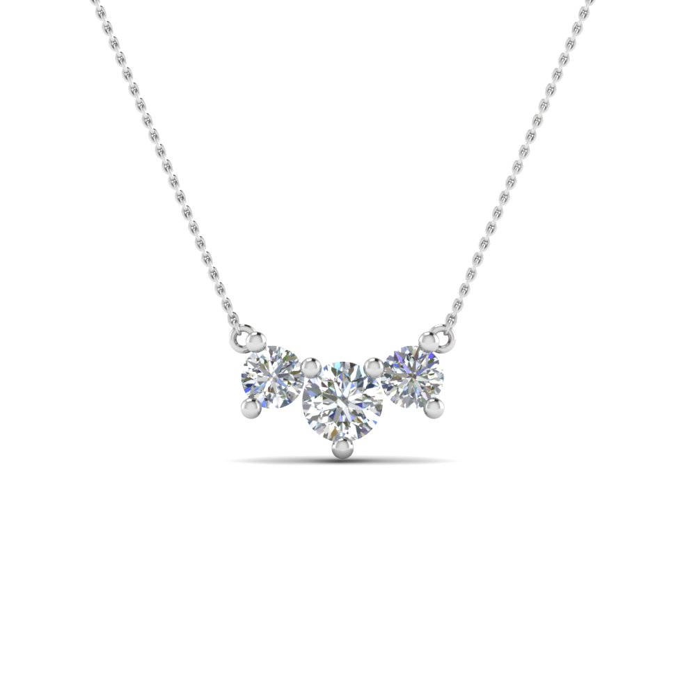 half carat 3 stone anniversary diamond necklace in 14K white gold FDNK8065 NL WG