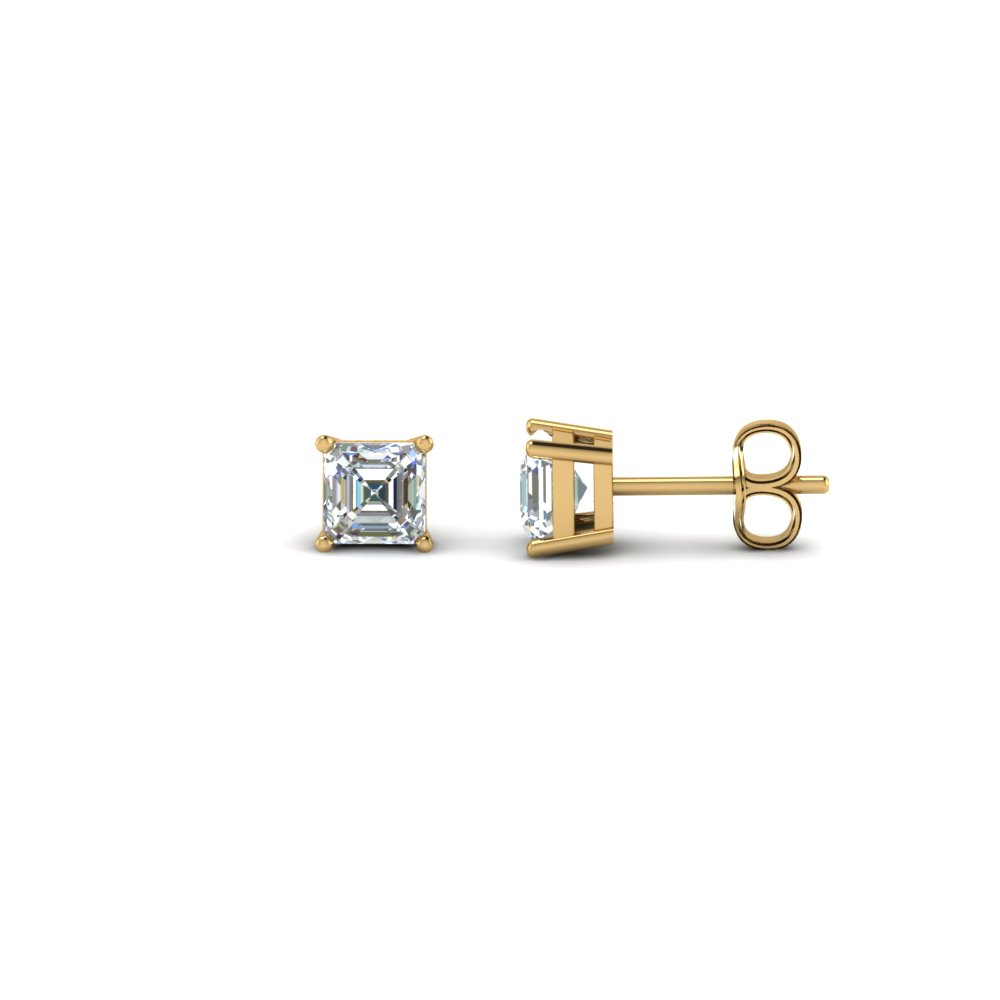 half carat asscher diamond stud earring in FDEAR4AS0.25CT NL YG