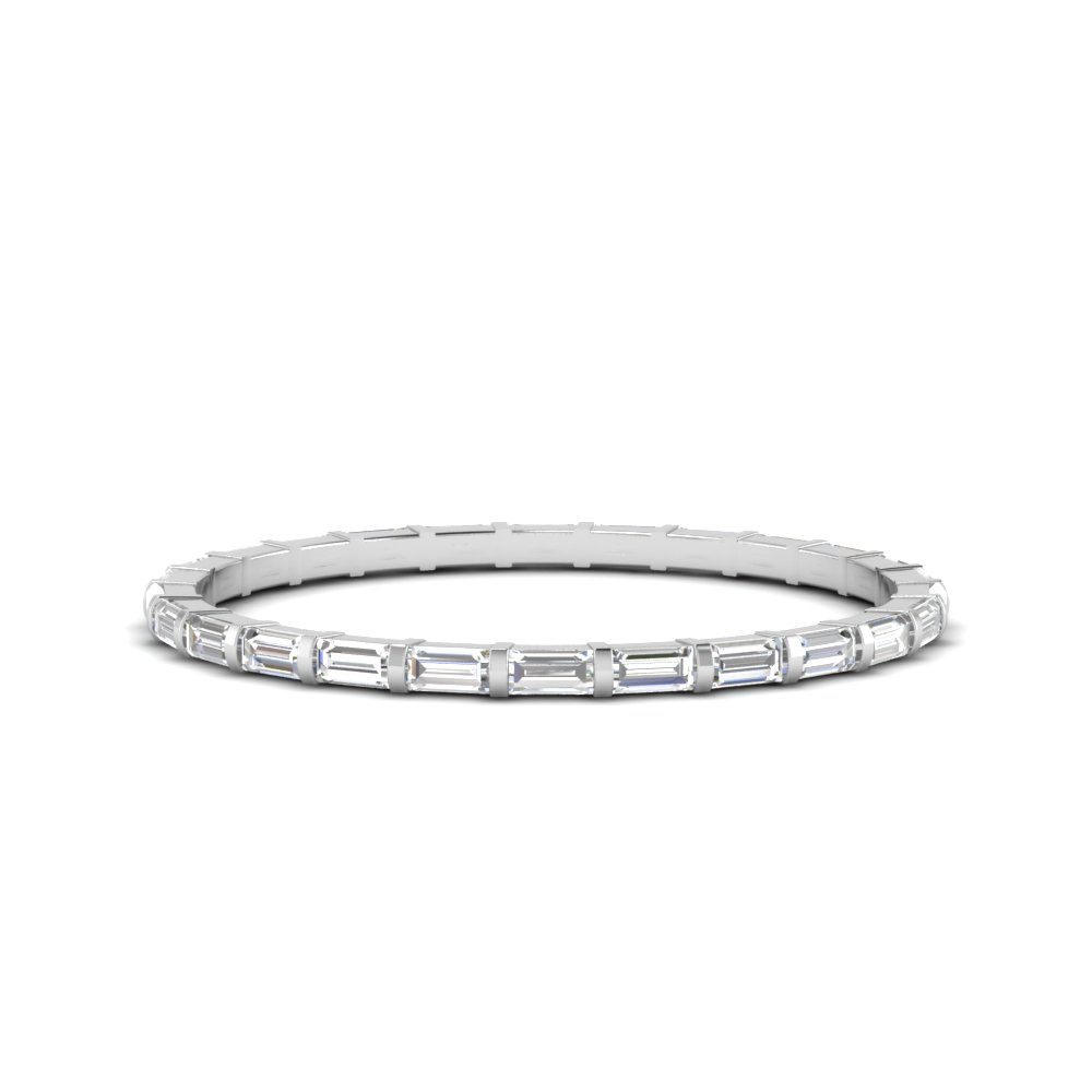 half carat diamond baguette bar eternity band thin in FD123625BGEWB NL WG