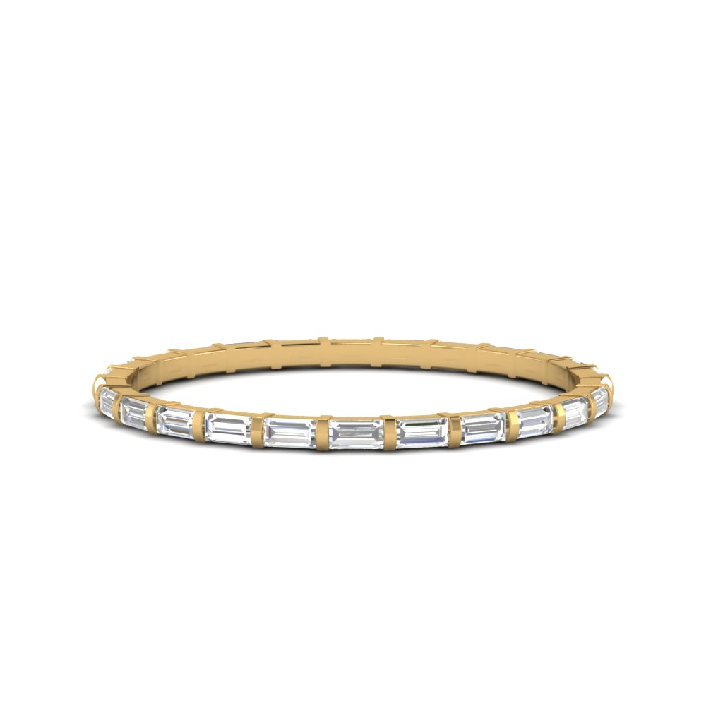 Bar Set Baguette Band 18K Yellow Gold