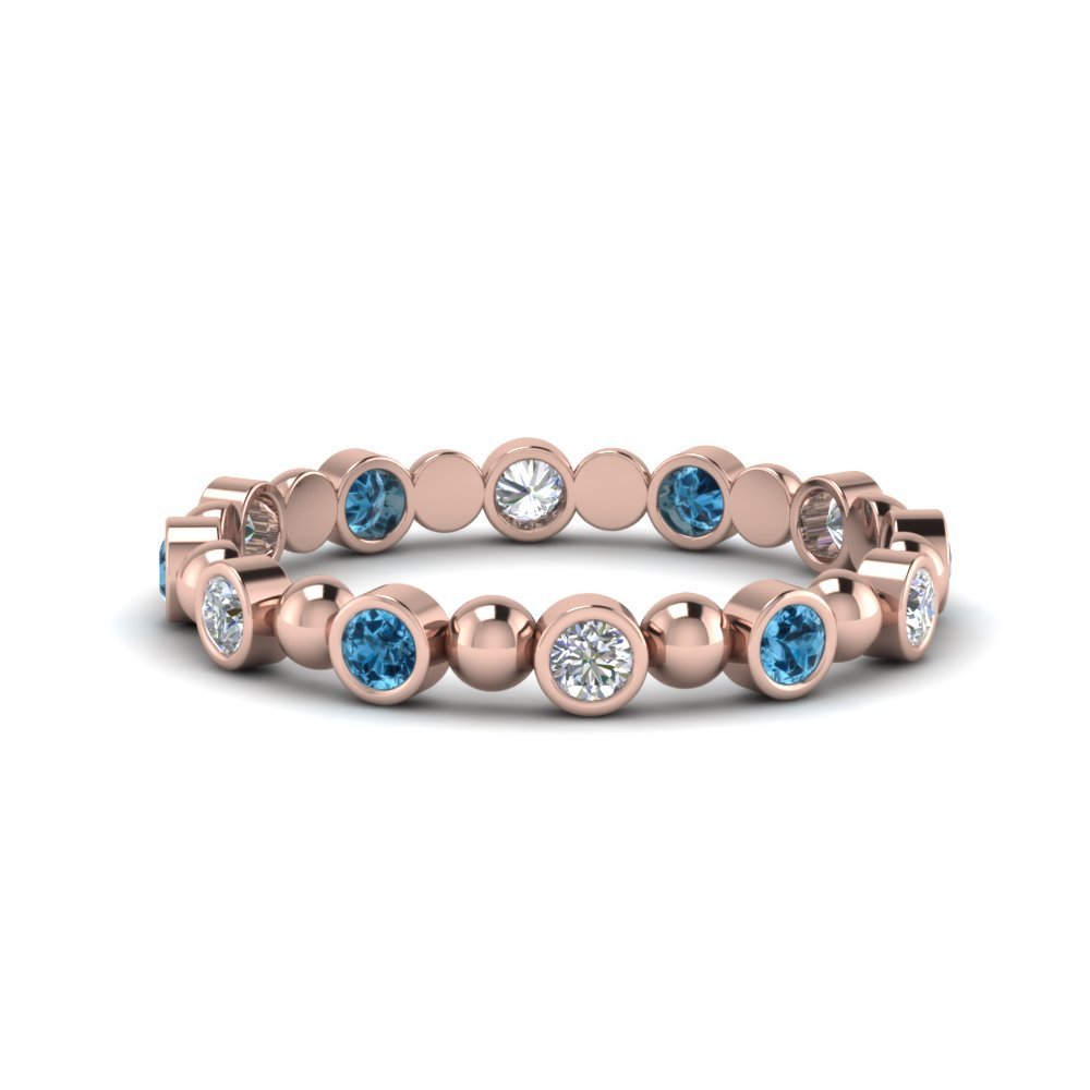 14K Rose Gold Blue Topaz Bead Band