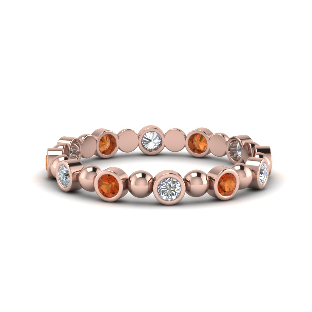 Orange Sapphire Band With Beads