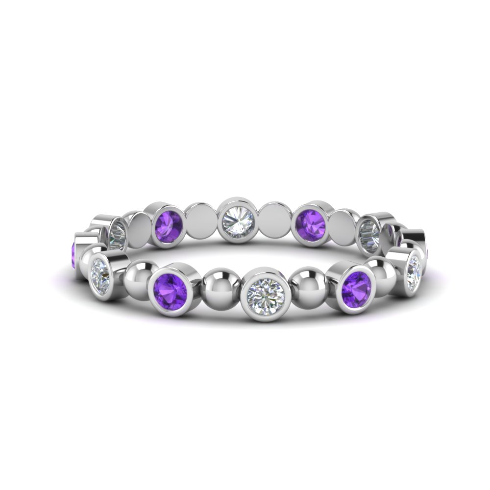Purple Topaz Bezel Set Wedding Band