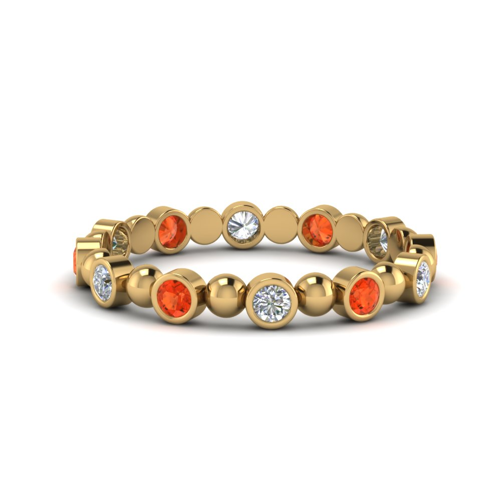 Bead Bezel Set Orange Topaz Band