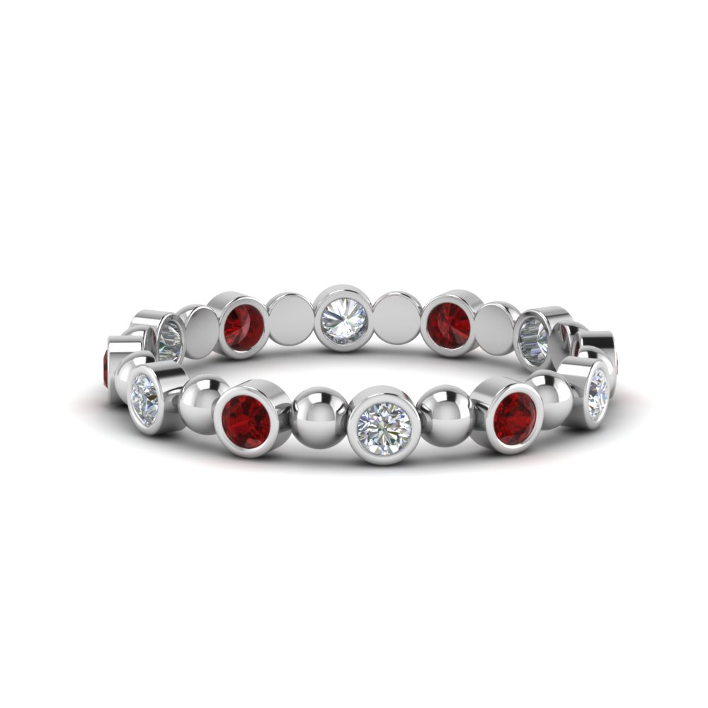 Bezel Set Ruby Wedding Band