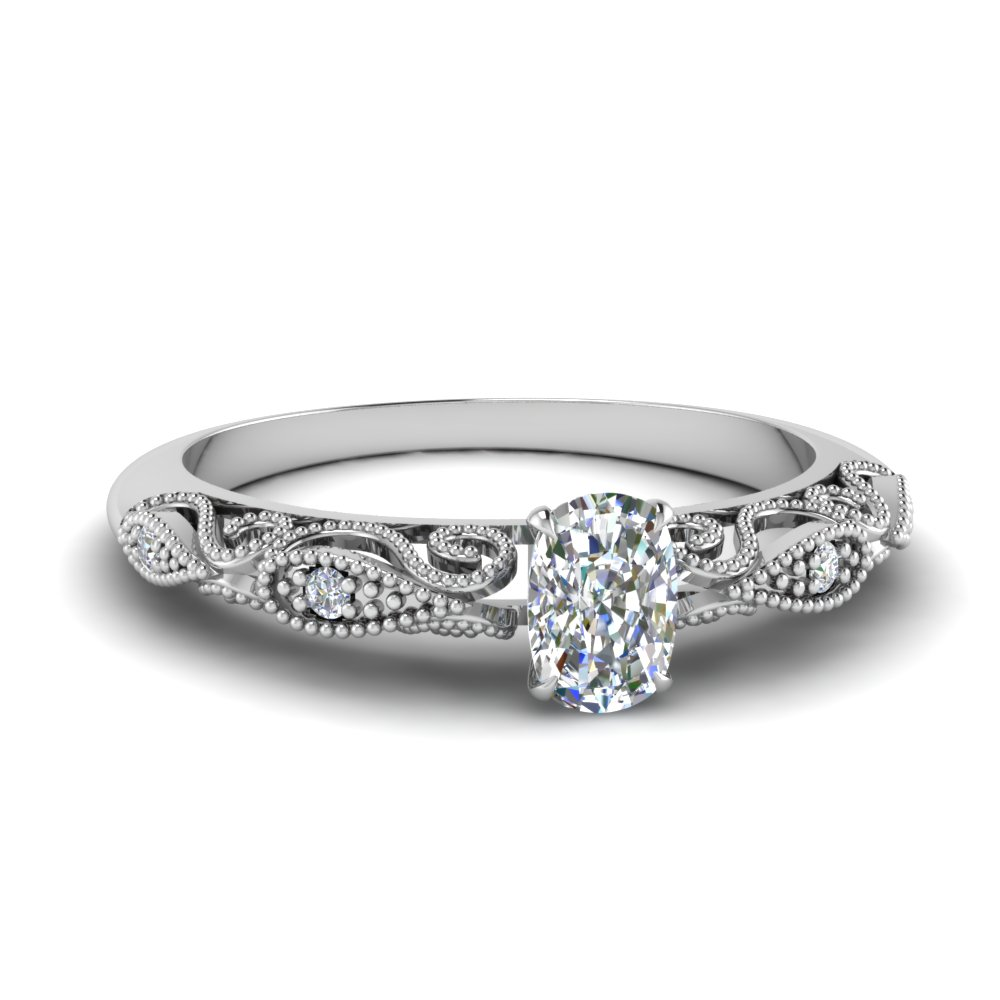 Half Carat Cushion Cut Filigree Ring