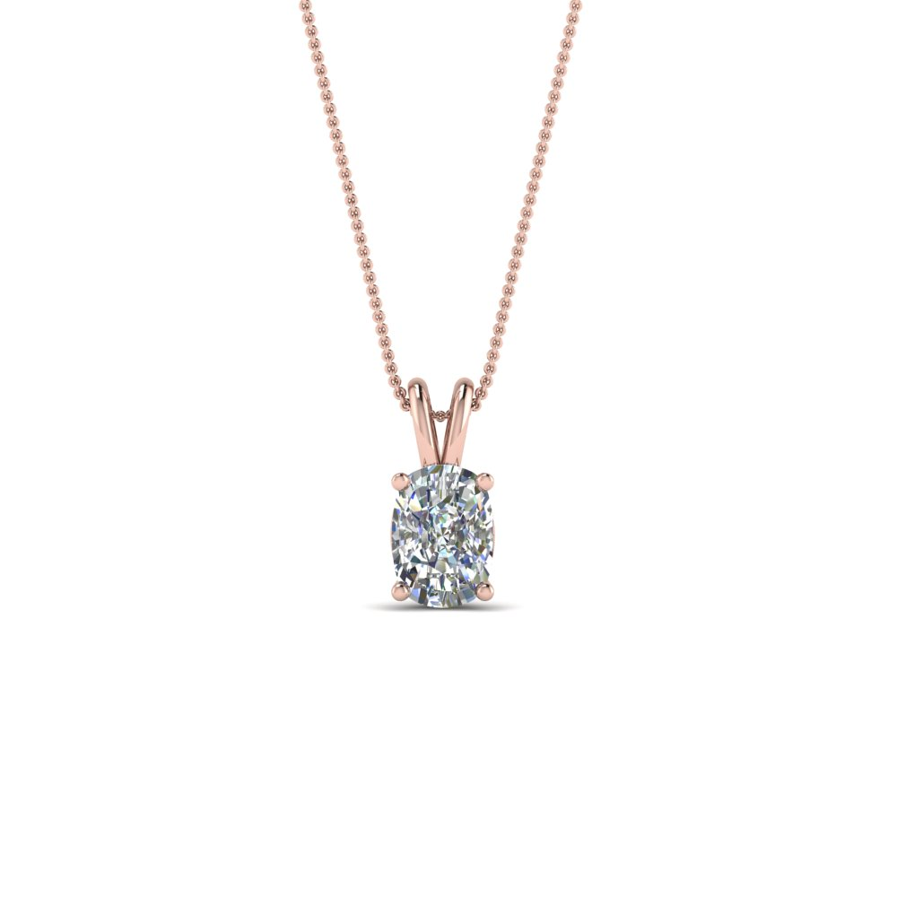 half carat cushion solitaire pendant in 14K rose gold FDPD8469CU 0.50CTANGLE2 NL RG