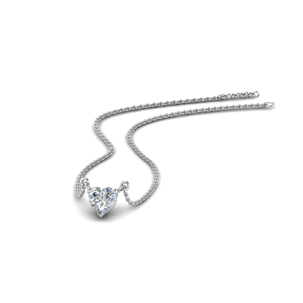 Half Carat Heart Solitaire Pendant In 14K White Gold