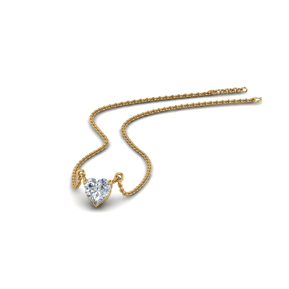 Half Carat Heart Solitaire Pendant In 14K Yellow Gold