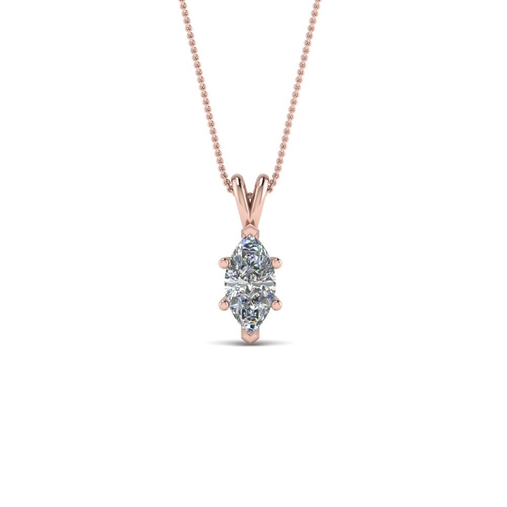 half carat marquise solitaire pendant in 18K rose gold FDPD8469MQ 0.50CTANGLE2 NL RG