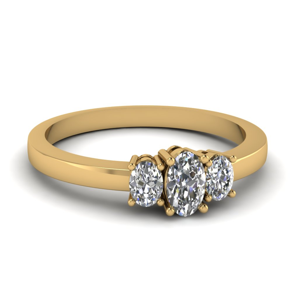 half carat oval 3 stone diamond engagement ring in 14K yellow gold FDENR2712OVR NL YG