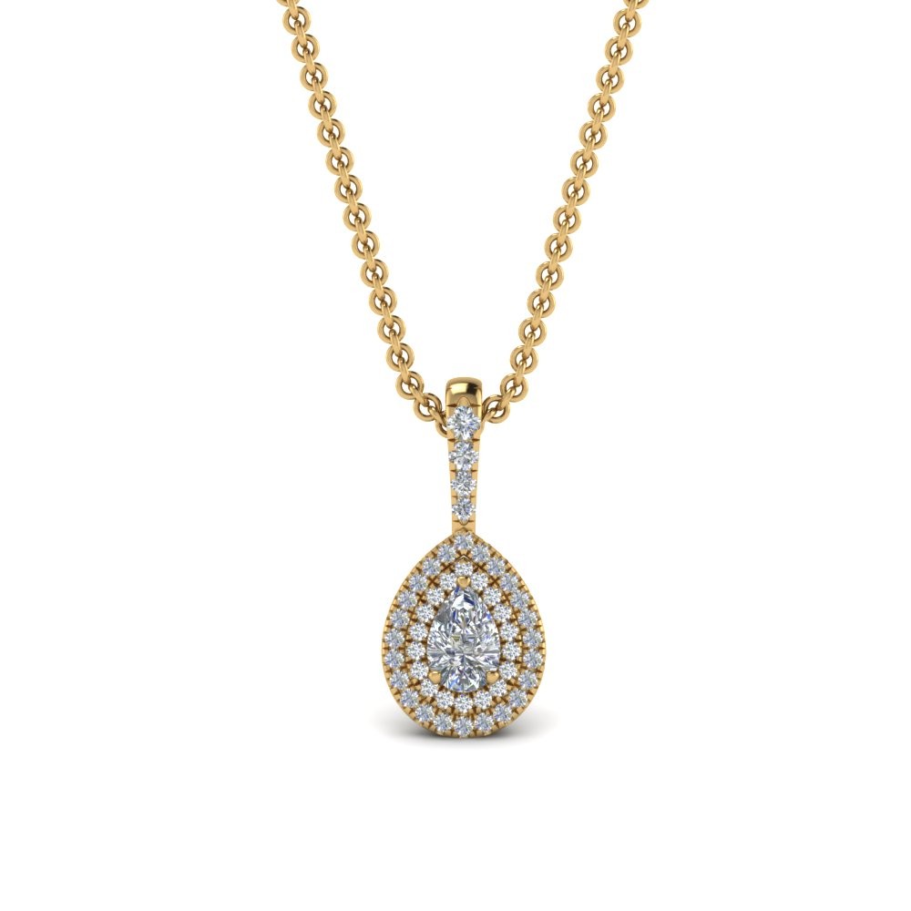 Half Carat Pear Diamond Halo Necklace
