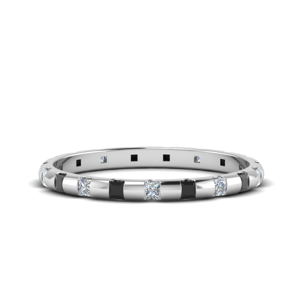 Platinum Half Ctw.  Black Diamond Band