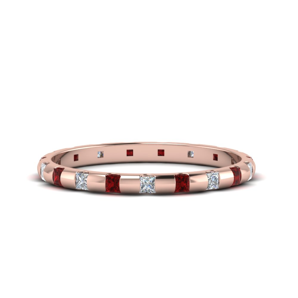 Half Carat Princess Cut Ruby Band