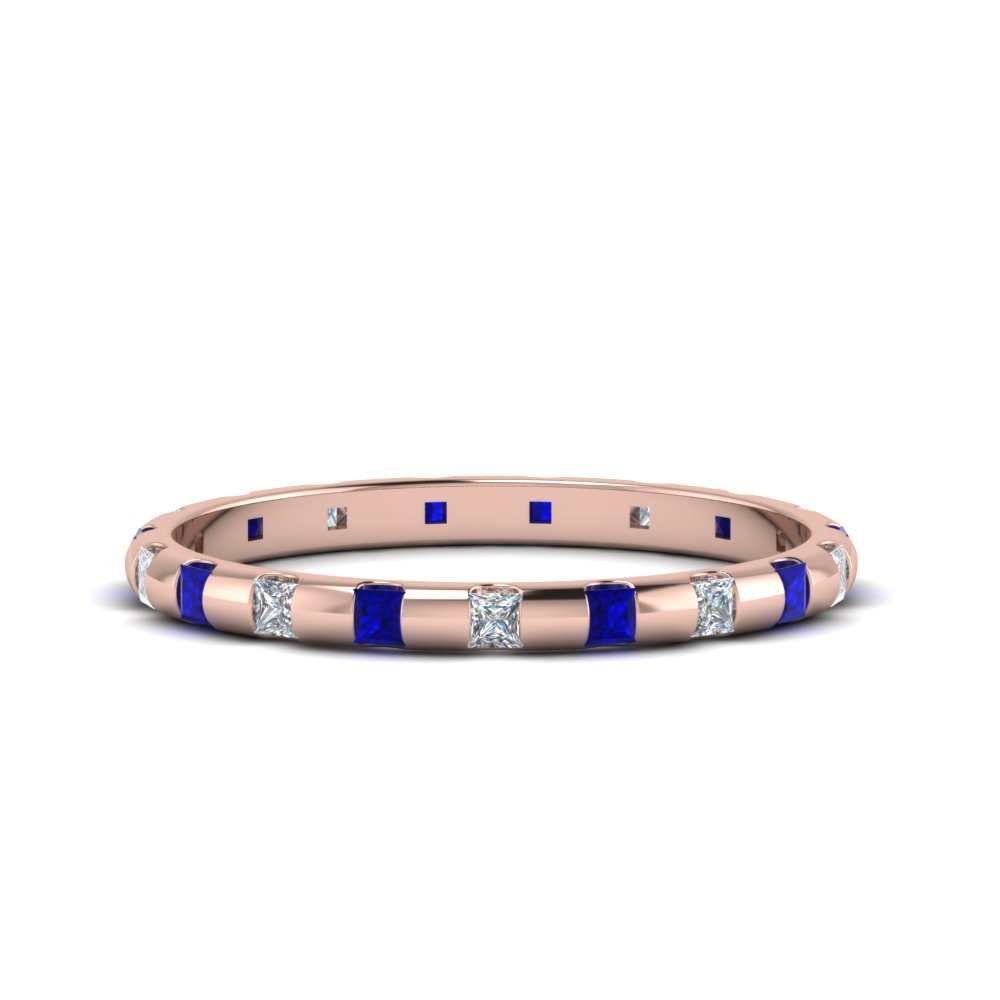 Half Carat Princess Cut Bar Sapphire Band