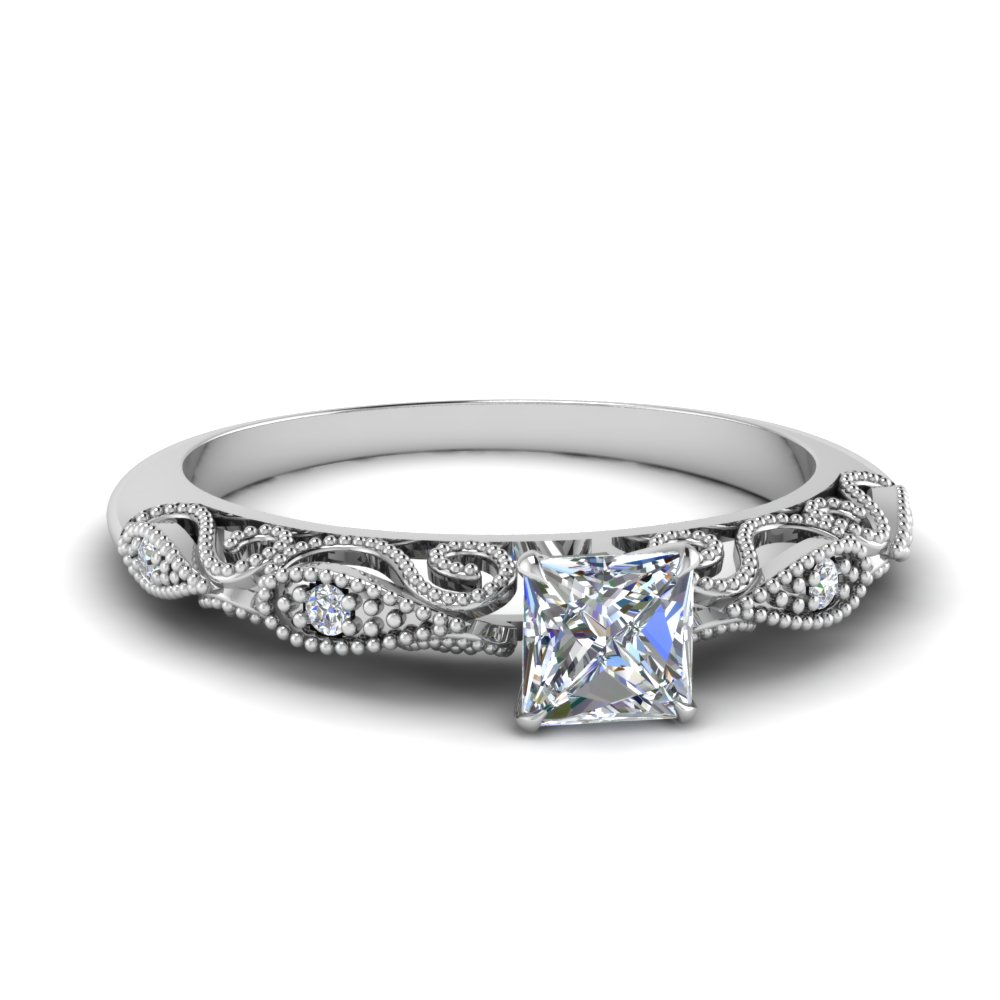 half carat princess cut diamond filigree engagement ring in FD69805PRR NL WG.jpg