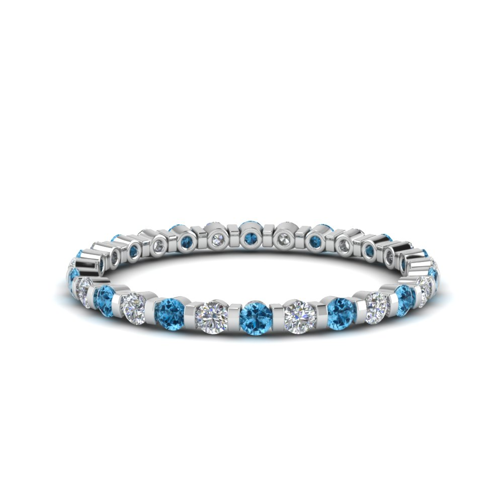 half-carat-round-diamond-bar-set-eternity-band-with-blue-topaz-in-FD123625ROEWB(0.02CT)GICBLTO-NL-WG