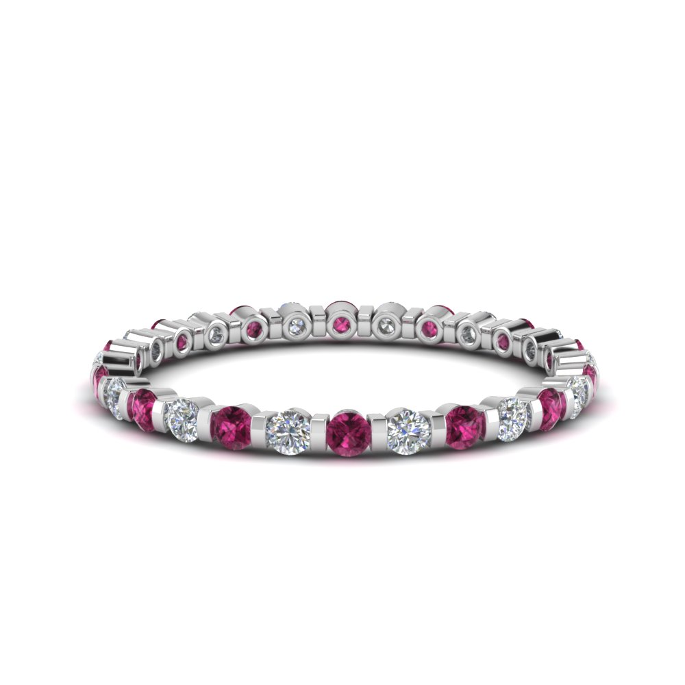 Pink Sapphire Bar Set Eternity Band