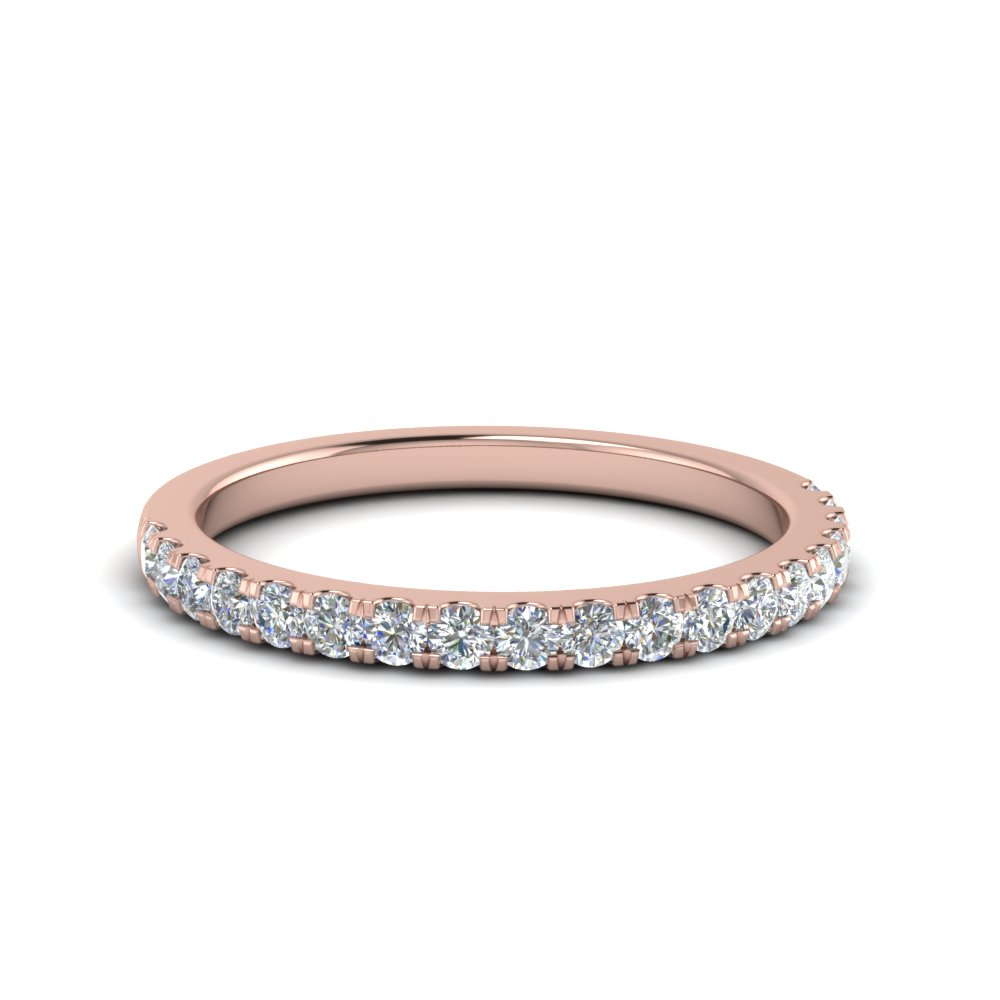Half Carat Round Diamond Delicate Band In 14K Rose Gold