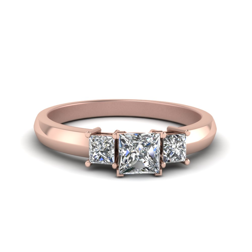 Simple Princess Cut 3 Stone Wedding Ring
