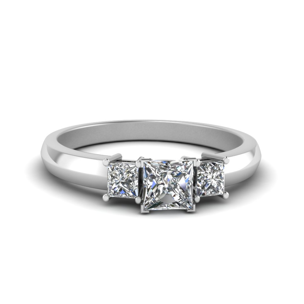 Half Carat Three Stone Princess Cut Engagement Ring In 950 Platinum
