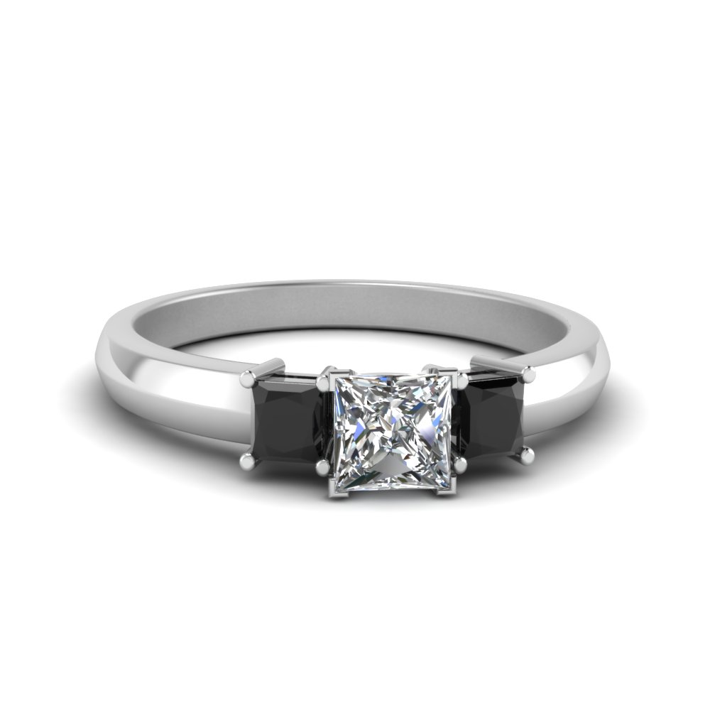 Half Carat Three Stone Princess Cut Engagement Ring With Black