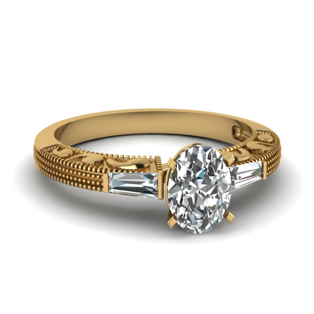 Half Carat Vintage Baguette Three Stone Diamond Engagement Ring In 18K Yellow