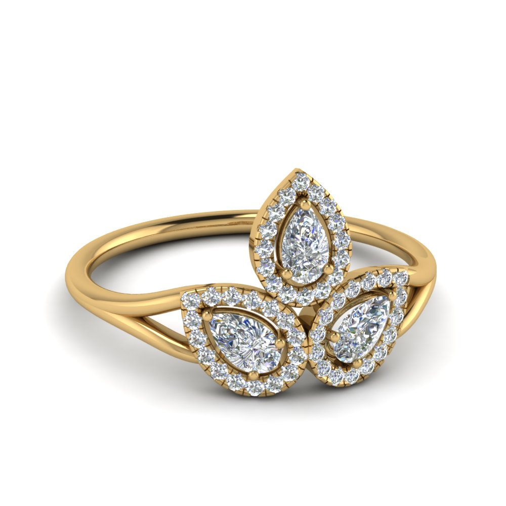 Halo 3 Pear Diamond Contemporary Ring