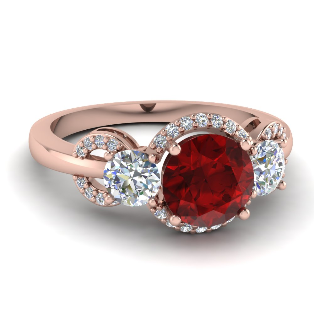 3 Stone Ruby Halo Ring