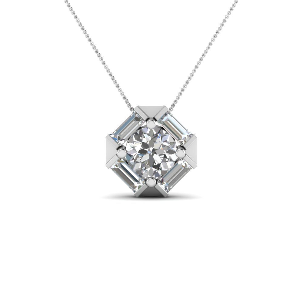 Halo Baguette Diamond Pendant