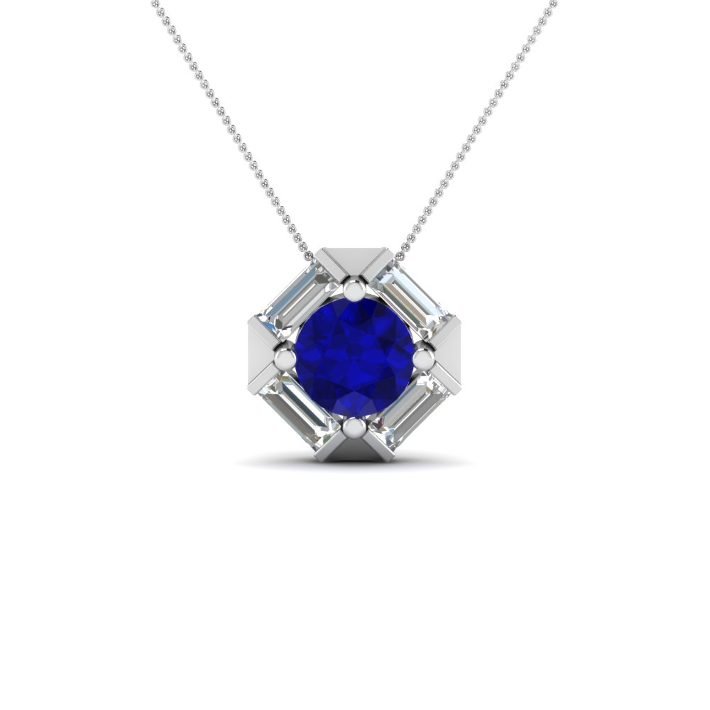 Halo baguette with round diamond pendant with blue sapphire in 14k halo baguette with round diamond pendant with blue sapphire in fdpd242gsabl nl wg aloadofball Image collections
