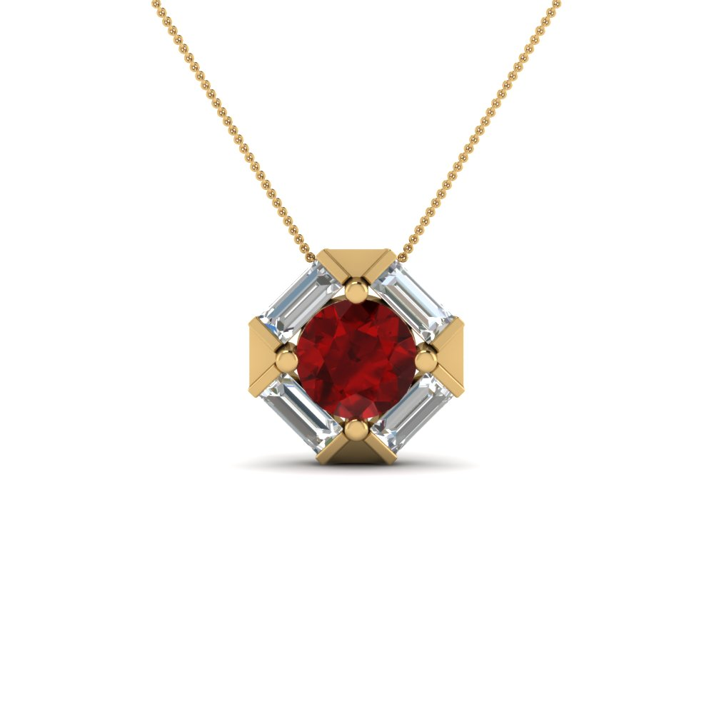 Halo Baguette With Ruby Pendant