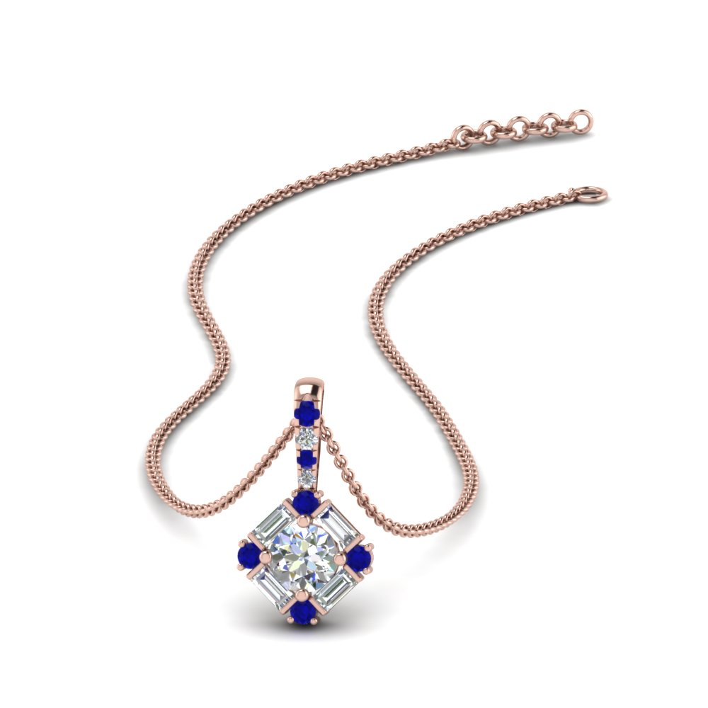 halo baguette diamond pendant-with-sapphire-in-FDPD242GSABL-NL-RG