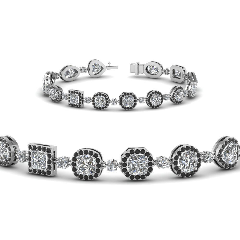 Platinum Halo Black Diamond Bracelet