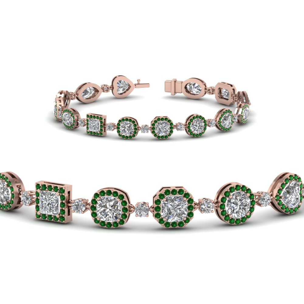 halo diamond bracelet for women with emerald in FDBR8198GEMGRANGLE2 NL RG