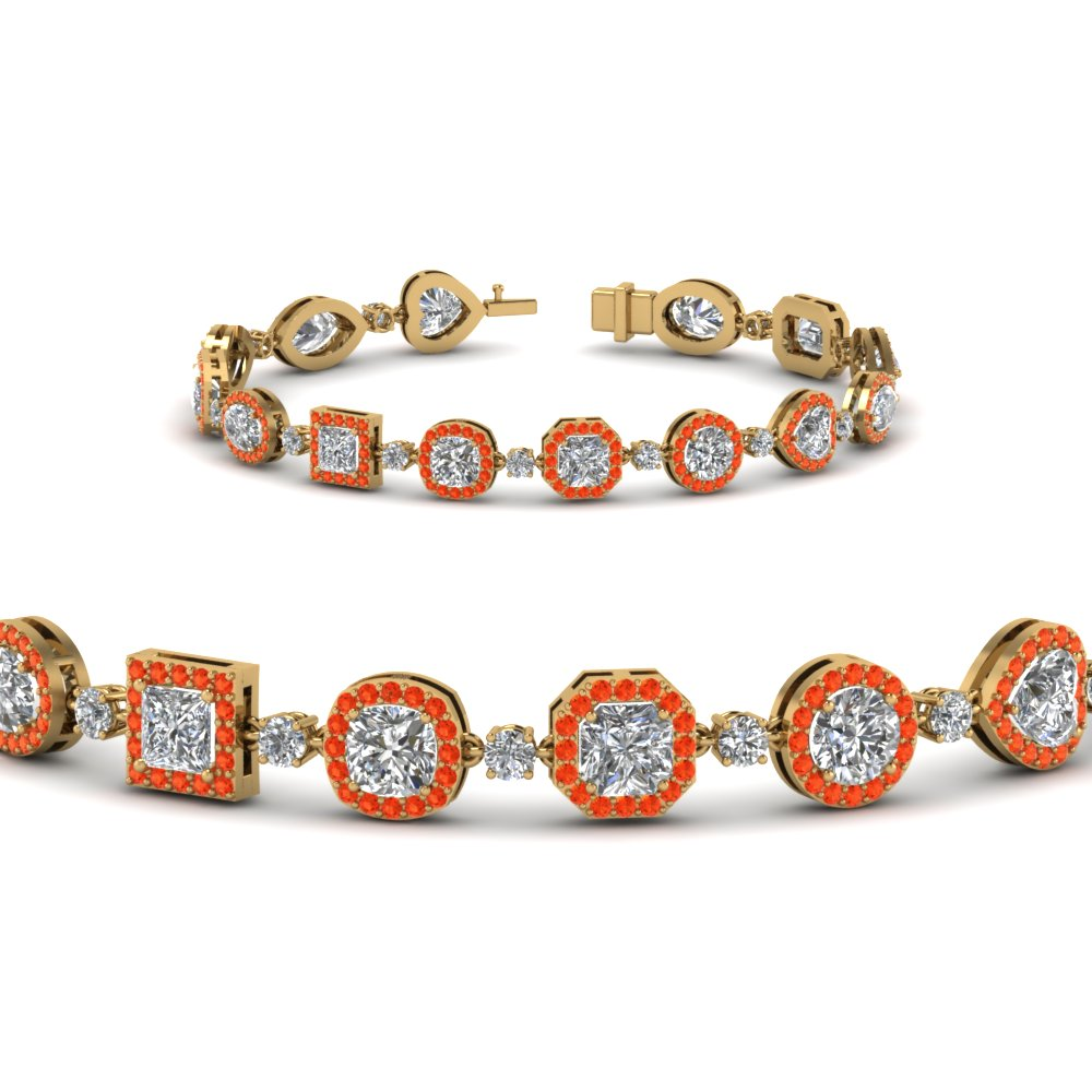 Womens Orange Topaz Halo Bracelet