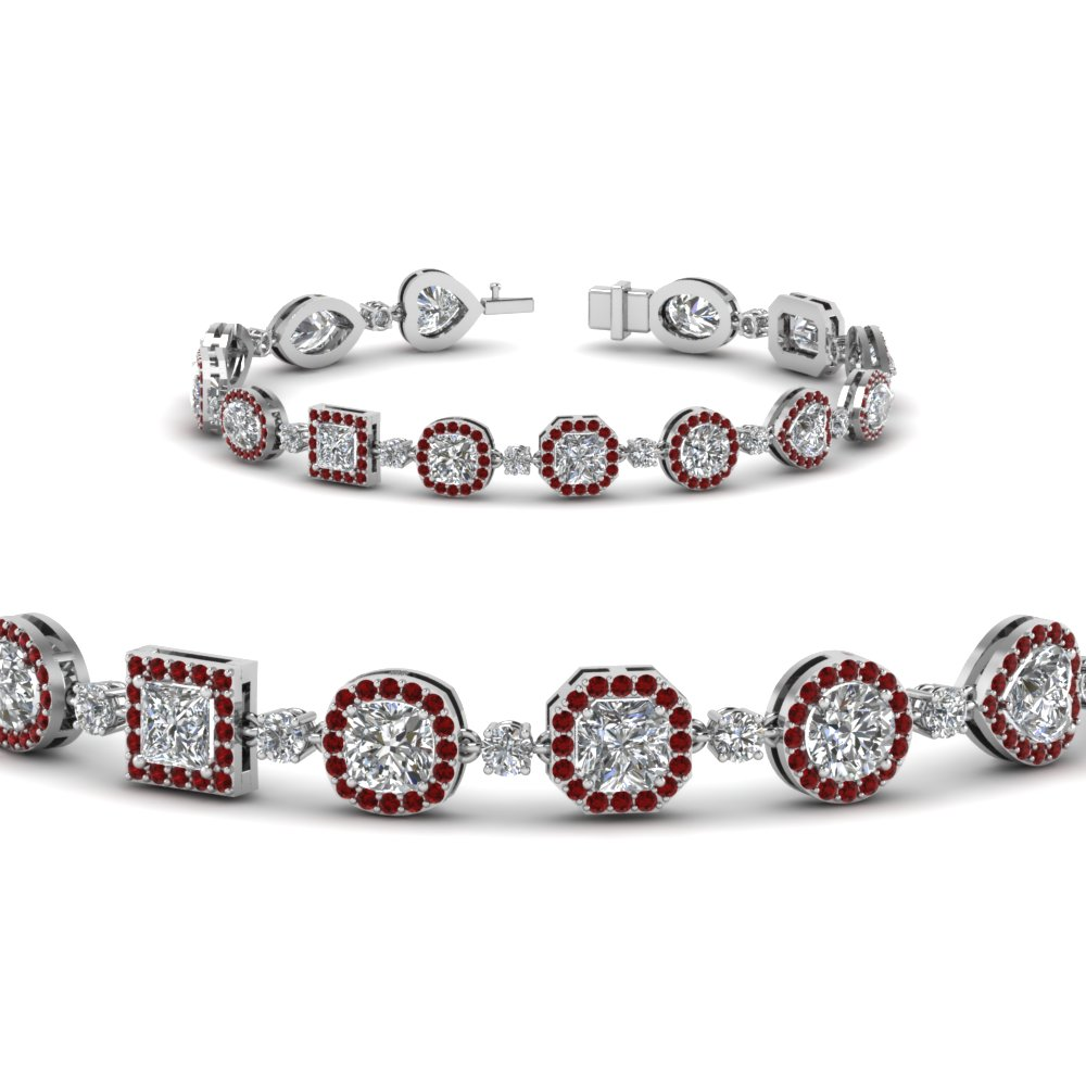 Accent Ruby Halo Pattern Bracelet
