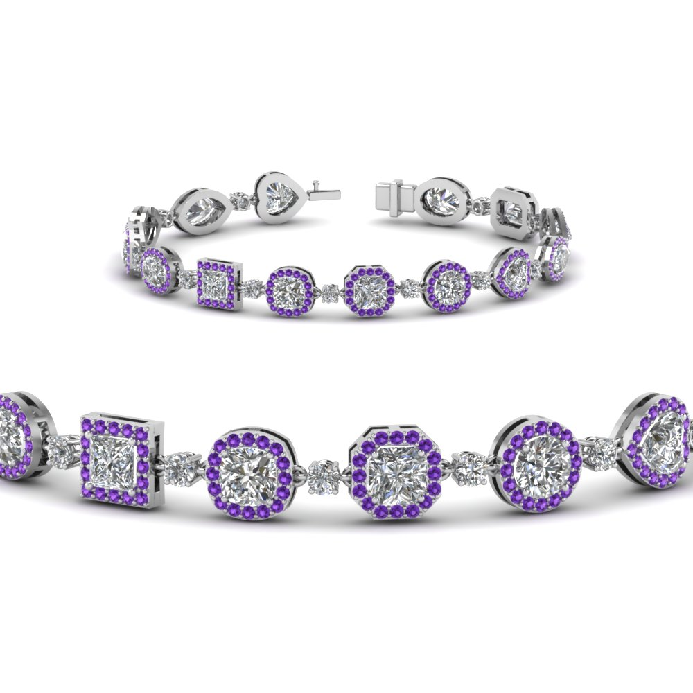 Halo Pattern Purple Topaz Bracelet