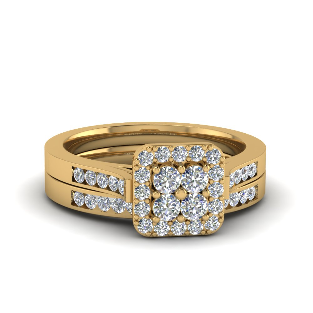 Halo Diamond Cluster Bridal Set In 14K Yellow Gold Fascinating